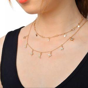 Star Moon Rhinestone charm layer gold necklace ⭐️